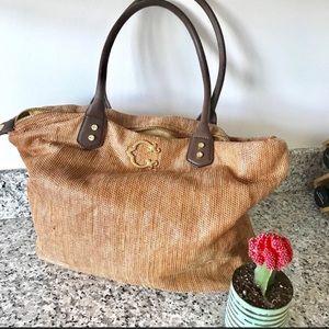 C Winder Large Tote Bag - Straw-like material